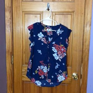 Blue Floral Ruffle Sleeve Top